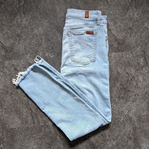 7 For all Mankind raw hem high rise ankle skinny